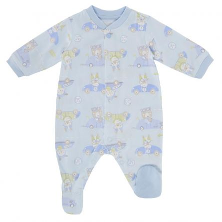 Salopeta bebelusi Chicco, deschidere fata, cu botosei incorporati, bleu, 50
