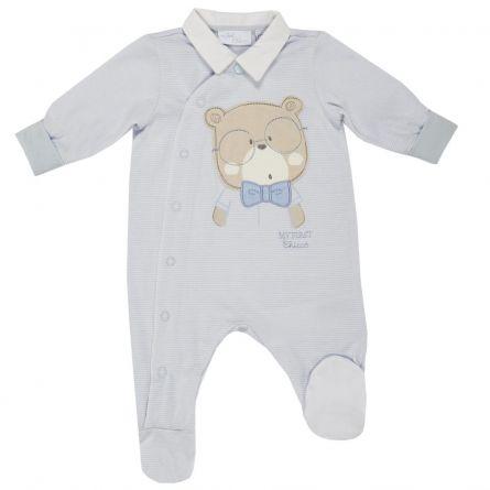 Salopeta bebelusi Chicco, deschidere fata, cu botosei incorporati, bleu, 21609