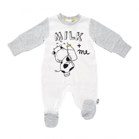 Salopeta bebelusi Chicco, deschidere scutec, alb cu model, 50