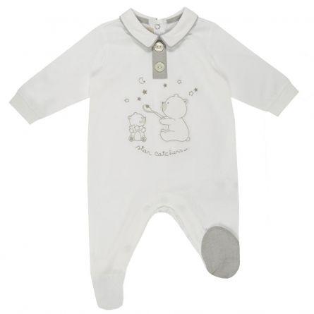 Salopeta bebelusi Chicco, deschidere scutec, cu botosei incorporati, alb, 56
