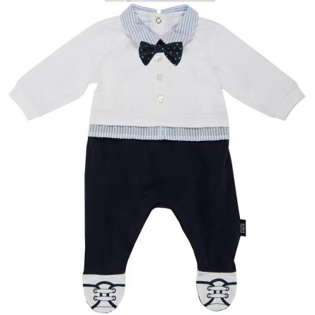 Salopeta bebelusi Chicco, deschidere spate, botosei incorporati, alb cu bleumarin, 50
