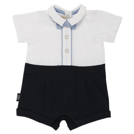 Salopeta scurta bebelusi Chicco, alb cu bleu si bleumarin, 62
