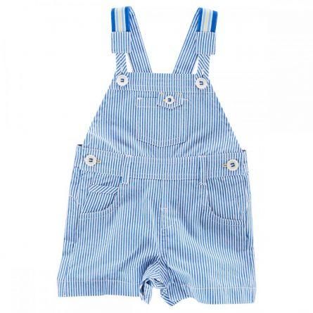 Salopeta scurta cu bretele copii Chicco, alb cu dungi albastre, 62