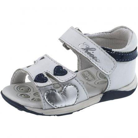 Sandalute copii Chicco, alb cu model, 18