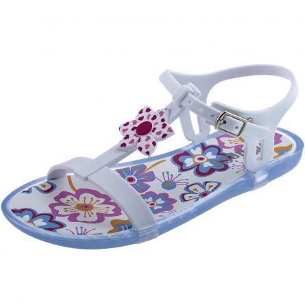 Sandale fetite Chicco, alb cu model, 28