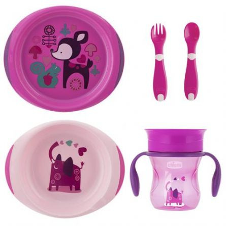 Set complet hranire Chicco, Girl, 12luni+