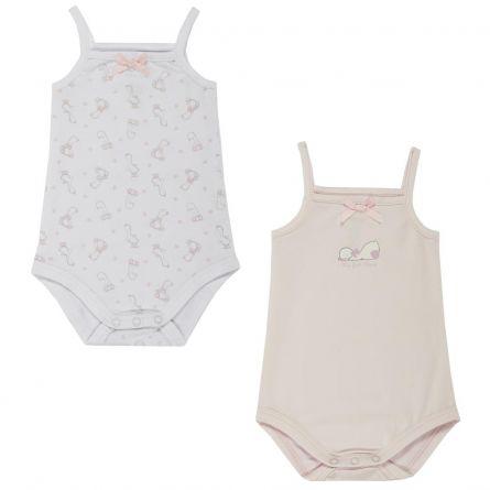 Set doua bucati body copii Chicco, inchidere scutec, alb cu roz, 50