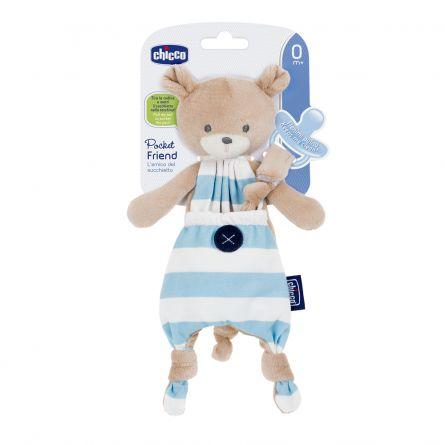 Suport suzeta Chicco 3 in 1, Pocket Friend, albastru