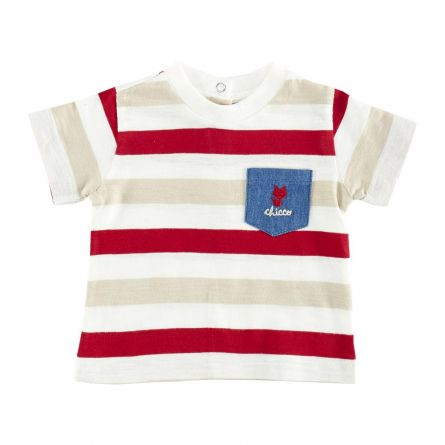 Tricou copii Chicco, dungi maro cu alb si rosu, 62