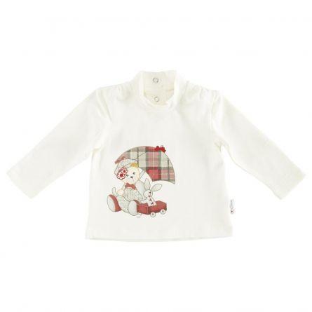 Tricou copii Chicco, maneca lunga, alb cu model, 74