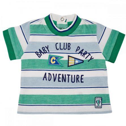 Tricou maneca scurta copii Chicco, alb cu dungi bleu si verzi, 68