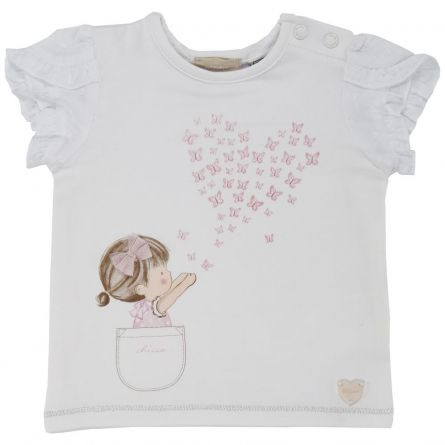 Tricou maneca scurta copii Chicco, fetite, alb, 68