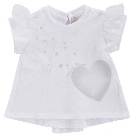 Tricou maneca scurta copii Chicco, fetite, alb, 56