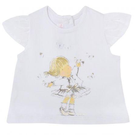 Tricou pentru fetite Chicco, alb, 80