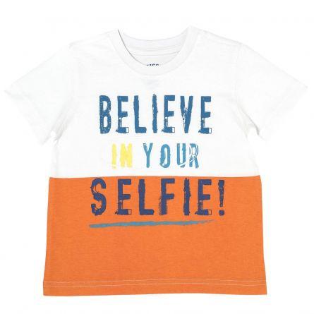 Tricou copii Chicco, pentru baieti, alb cu portocaliu, 122