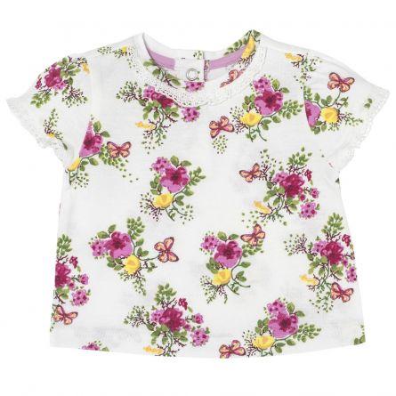 Tricou pentru fetite, Chicco, dantela, alb, 62