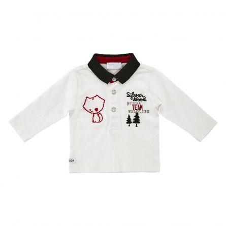 Tricou polo copii Chicco, maneca lunga, alb, 74