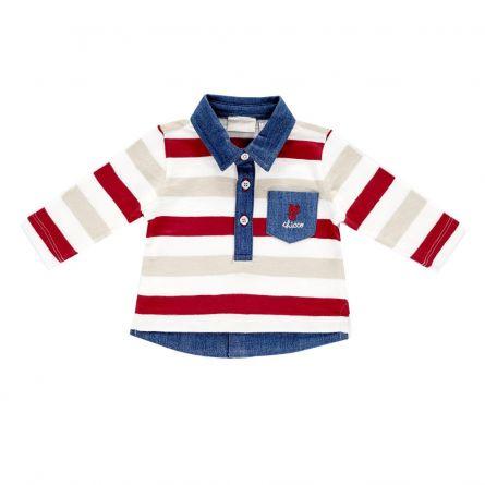 Tricou polo copii Chicco, maneca lunga, alb cu dungi colorate, 62