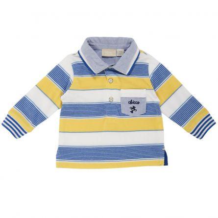Tricou polo copii Chicco, maneca lunga, galben cu alb si bleu, 68