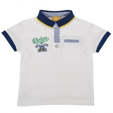 Tricou polo copii Chicco, maneca scurta, alb cu bleumarin si albastru, 98