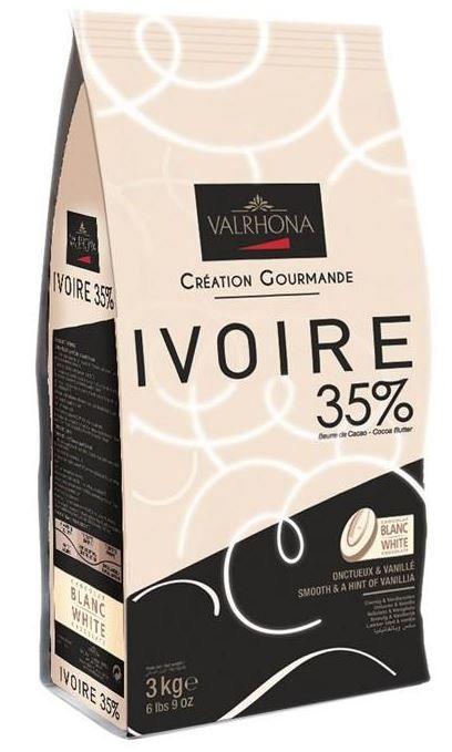 Ciocolata Alba Premium IVOIRE 35 % UNT CACAO, Valrhona, 3 Kg 10001497