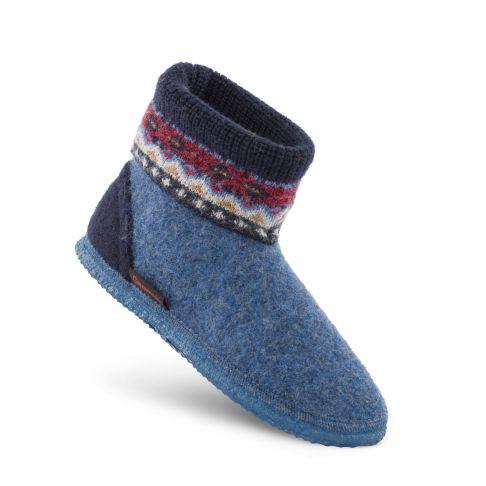 Papuci de casa din lana, model Kristiansand, unisex, albastru 41
