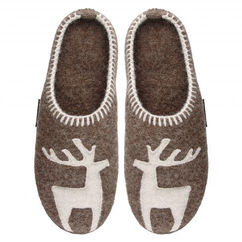 Papuci de casa din lana, model Vivi, unisex, bej inchis  40