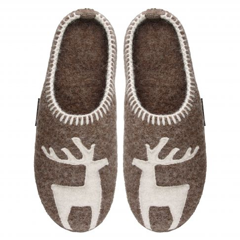 Papuci de casa din lana, model Vivi, unisex, bej inchis  44