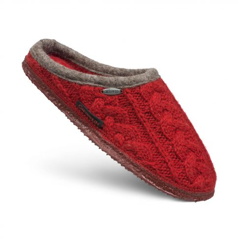 Papuci de casa Neudau, din lana, rosu 40