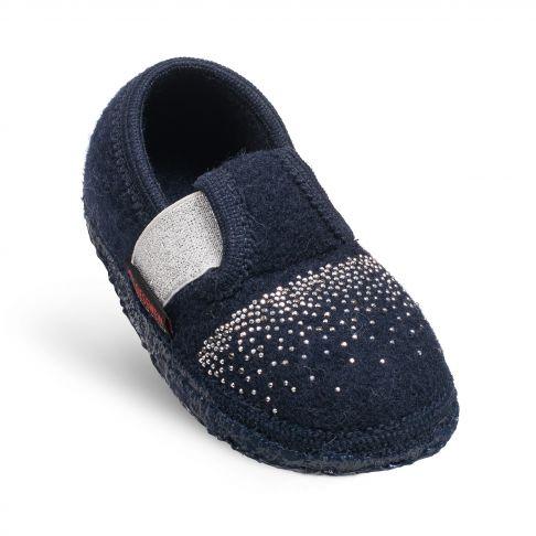 Papuci de casa Taben, din lana, model fetite, bleumarin 26