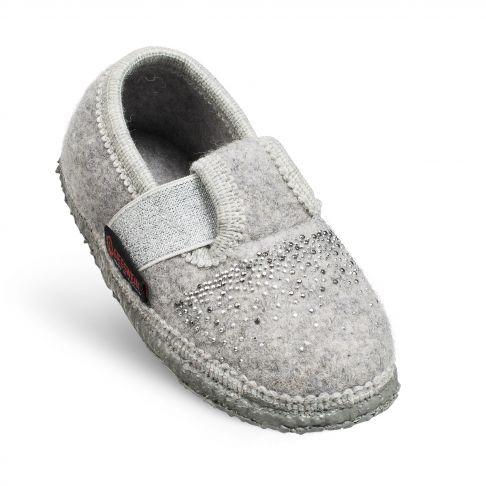 Papuci de casa Taben, din lana, model fetite, gri deschis 25