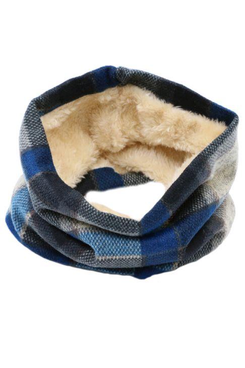 Fular circular pentru copii, din bumbac, cu blana, in carouri
