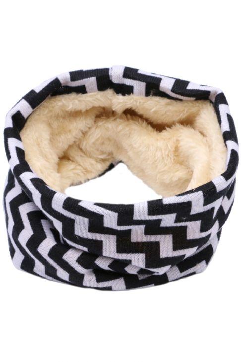 Fular circular pentru copii, din bumbac, monocrom, cu blana