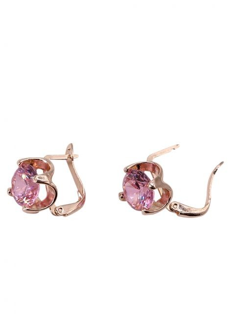 Cercei,inchizatoare latch back, cu cristal roz