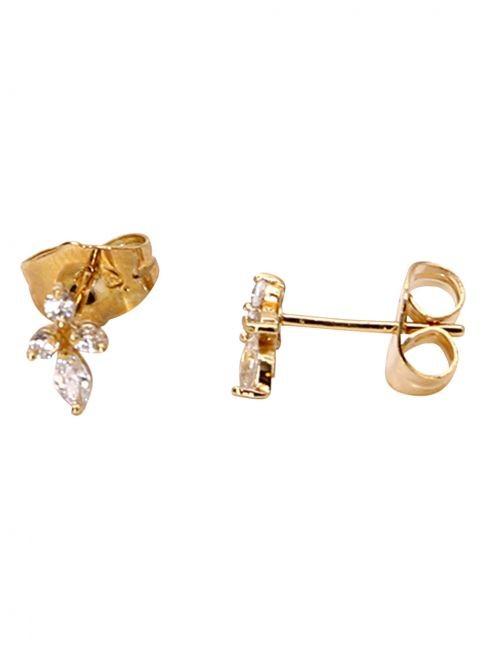 Cercei stud, aurii , cruce din cristale