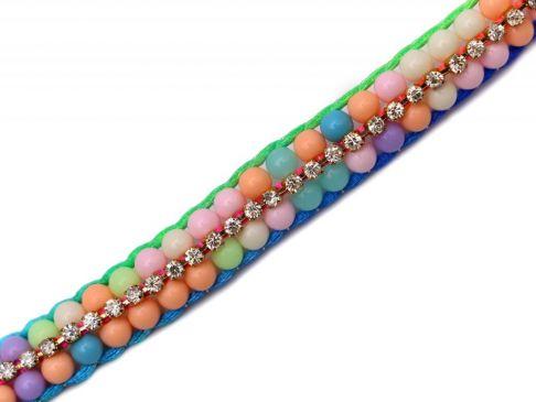 Bratara din snur multicolor, cu margele si cristale