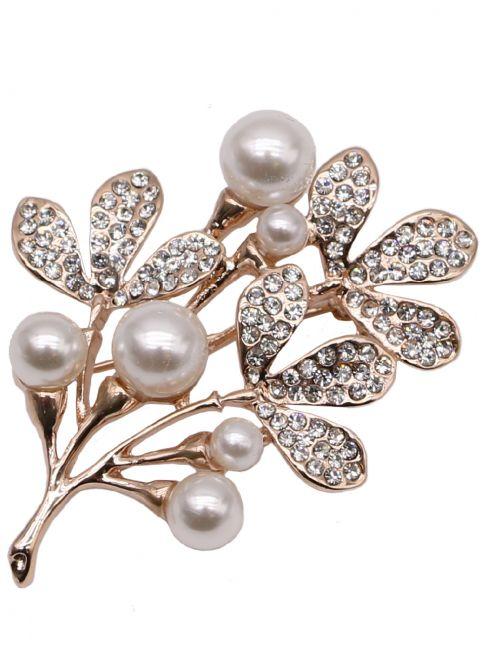Brosa pentru haine, cu cristale si imitatie de perla