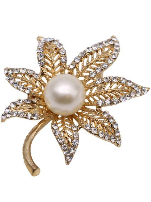 Brosa pentru haine, in forma de frunza, cu cristale si imitatie de perla