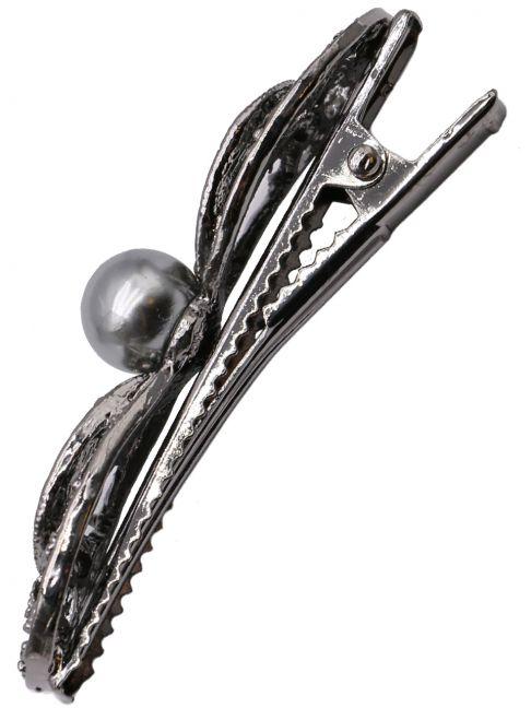 Clama pentru par, cu cristale si imitatie perla, neagra