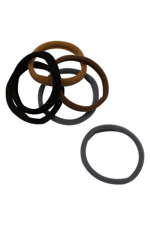 Set 12 elastice pentru par, maro cu negru
