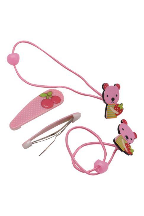 Set pentru copii, agrafe si elastice, ursuleti cu cirese