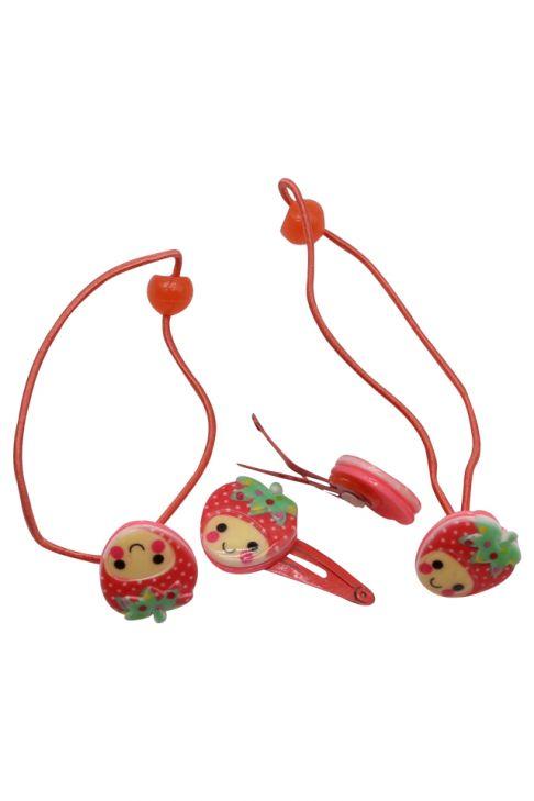 Set pentru copii, agrafe si elastice, capsuni