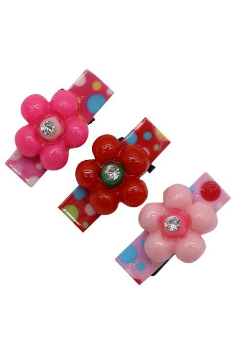 Set pentru copii, 3 agrafe, floare , plastic