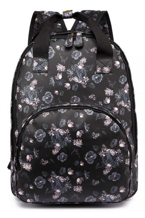 Ghiozdan de scoala pentru fete, roz negru, cu multe buzunare LG1658-16ROSE BK
