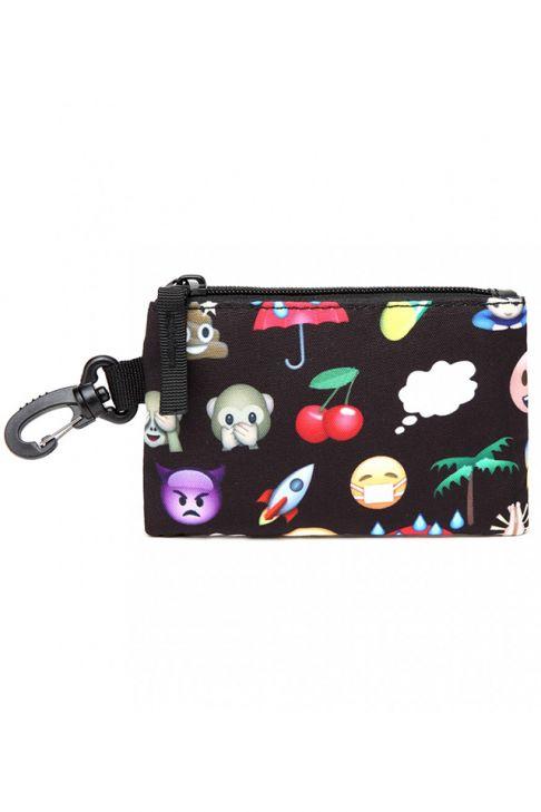Rucsac pentru copii, emoticon, negru, cu penar si portofel E6629-1 BK