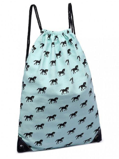 Rucsac din textil, print cu cai, cu snur, albastru deschisj E1406H BE