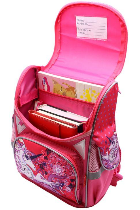 Ghiozdan scoala BROTHERS, rucsac pentru copii, fete, ergonomic, roz cu pereti rigizi, Unicorn Z-7-3