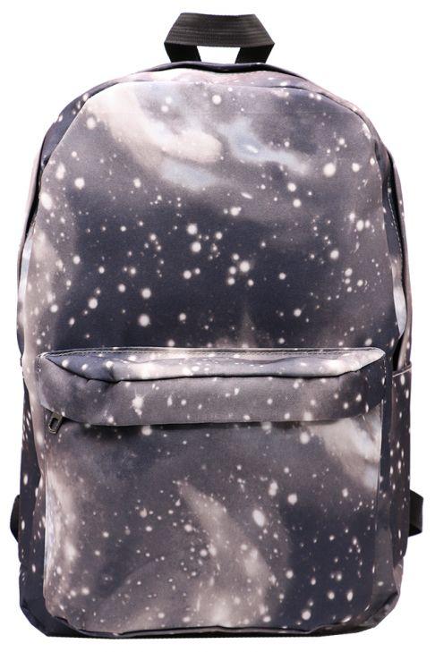 Rucsac din material textil cu imprimeu galaxie Z-581-1 Negru+Gri