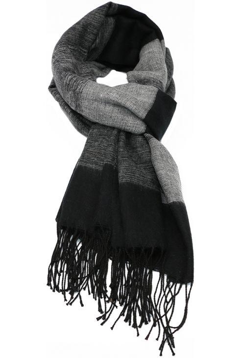 Fular sau sal pentru femei, cu franjuri, supradimensionat, din poliester, toamna iarna, gri negru, ZS-19-3