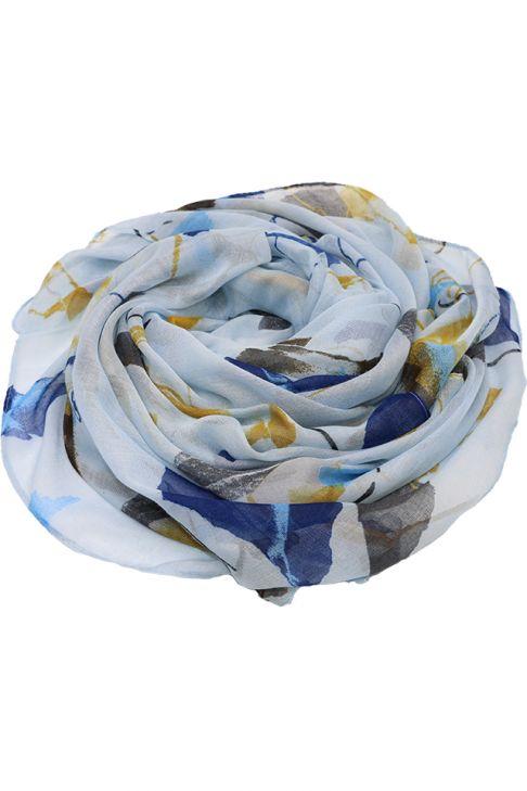 Esarfa pentru femei, din polyester subtire, primavara toamna, cu print color,albastru galben Li029-1